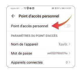 Activation point d'accès personnel - Android