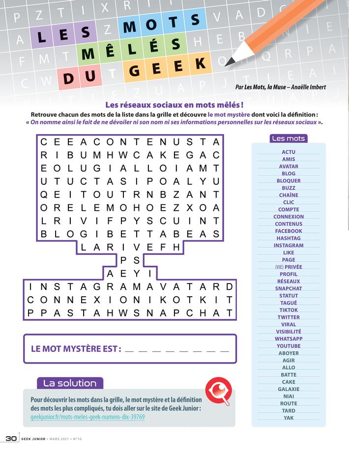 Les mots mêlés n°10 Geek Junior