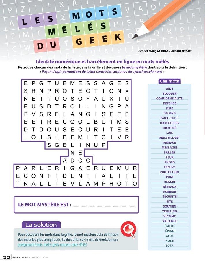 Les mots mêlés n°11 Geek Junior