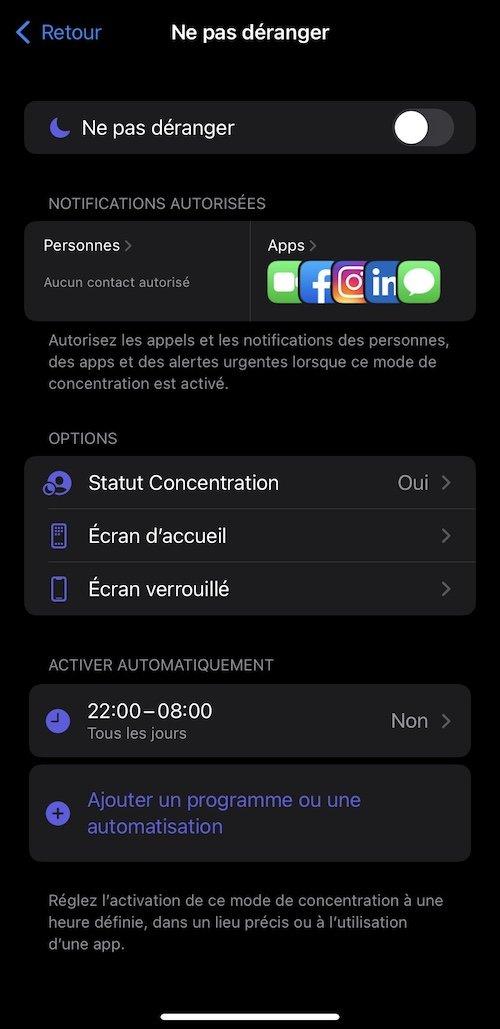 Mode concentration iOs 15.0